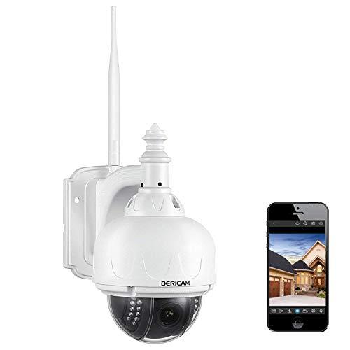 Dericam WLAN IP Kamera, Überwachungskamera Außenbereich, PTZ Kamera, 4-Fach optischer Zoom, Autofokus, mit 32GB Speicherkarte (vorinstalliert), S2X-32G, Farbe weiß