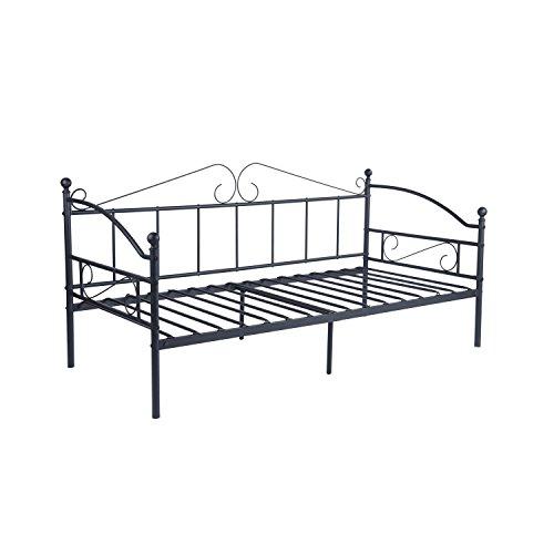 DORAFAIR Tagesbett mit Lattenrost Metallbett Bettrahmen, Bettsofa Schlafsofa für Schlafzimmer Wohnzimmer, Schwarz 90 x 190 cm