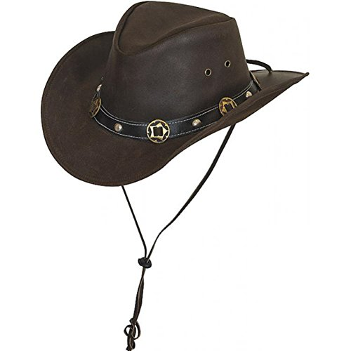 Scippis Concho Lederhut Classic Cowboyhut Australienhut (M/56-57 - braun)