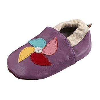 LSERVER Chaussure en Cuir Souple Chaussons Pour Enfant Bébé Garçon Fille, Moulin à vent violet, M (6-12 Mois, longue interne: 12.5cm)