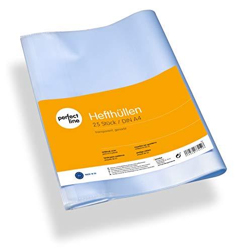 perfect line 25 Cubiertas transparentes para cuadernos A4 (espesor del material 0,09 mm), flexible y lavable, cubierta para cuadernos con encuadernación, funda protectora plastico forro de escuela