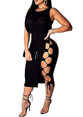 ❤High Quality Material: Polyester. Soft material, light and comfortable. Stretchy and breathable. ❤Features: Bandage, adjustable straps, side hollow out, bodycon, sleeveless, sexy and great for party. ❤Style: Elegant, sexy, bodycon, classy, patchwork...
