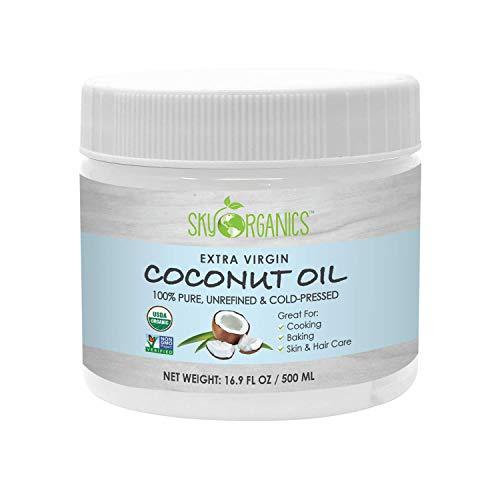 Organic Extra Virgin Coconut Oil by Sky Organics (16.9 oz) USDA Organic Coconut Oil, Cold-Pressed, Kosher, Cruelty-Free, Color Corrector, Skin Moisturizer (16.9 Fl. Oz (Pack of 1))