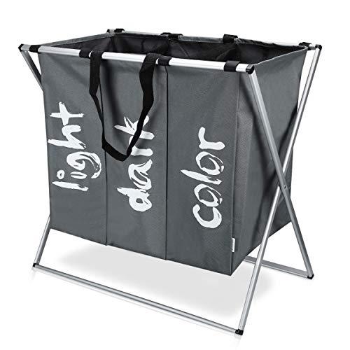 Navaris Wäschekorb Wäschesammler Wäschesack für Schmutzwäsche - Aufbewahrungsbox mit 77 l - Wäschebox Wäschesortierer für Wäsche - 63x38x57cm