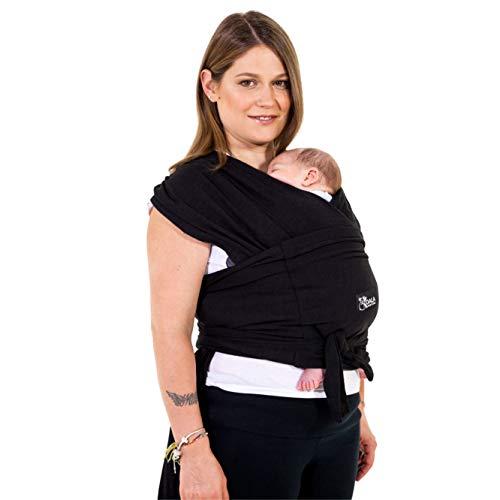 Fascia porta bambino facile da indossare (easy on), regolabile unisex - Marsupio neonati multiuso adatto fino a 10kg - Fascia porta bebe - Nero - Design Registrato KBC®