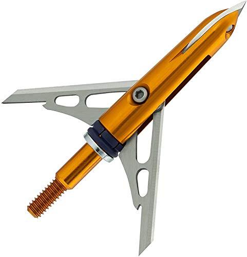 RAGE Crossbow X, 2-Blade Archery Arrow Broadhead, 100 or 125 Grain with Shock Collar Technology (3-Pack)