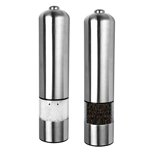 Schramm 2 Stück Elektrische LED Salz oder Pfeffermühle Gewürzmühle unbefüllt mit Keramik Mahlwerk Pfeffer Salz Gewürz Mühle 2er Pack