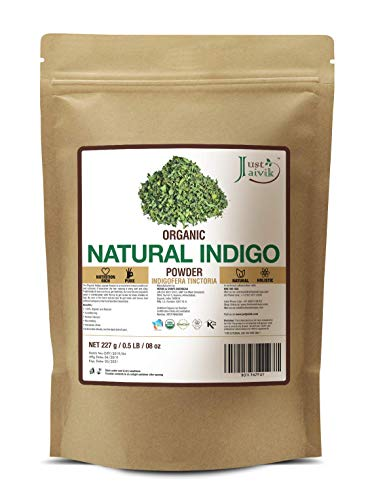 Just Jaivik 100% Organic Indigo Powder - 227 gms / 1/2 LB Pound / 08 Oz - Indigofera Tinctoria- A 100% Organic Hair Dye - Color your hair dark brown to black with Henna