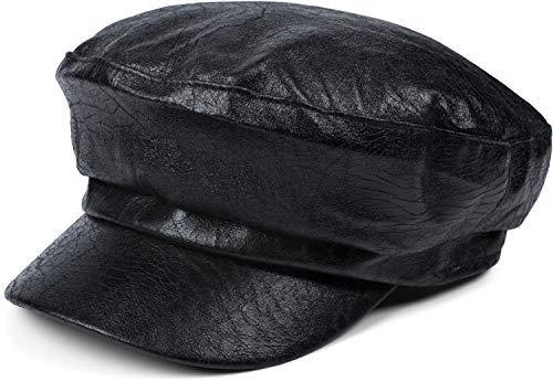 styleBREAKER Damen Bakerboy Schirmmütze Vintage Style, Ballonmütze, Newsboy Cap, Leder Optik Schiffermütze, verstellbar 04023070, Farbe:Schwarz