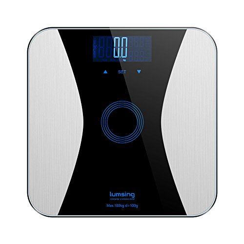 Lumsing Body Fat Weight Scale Digital Bathroom Scale Professional Smart Body Monitor Analyzer 400 lbs High Capacity Measuring BMI/Body Fat/Water/Muscle/Bone/Calorie, Black, CF372(Battery Include)