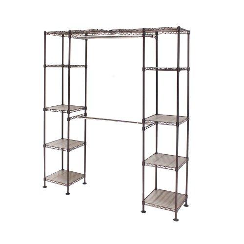 Seville Classics Expandable Double-Rod Clothes Rack Closet Organizer System, 58' to 83' W x 14' D x 72'