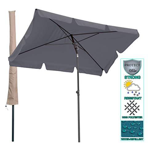 QUICK STAR Balkon Sonnenschirm 200x125cm Balkonschirm Rechteckig Knickbar Grau Gartenschirm UV 50 mit Schutzhülle