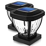 Home Zone Security Solar Post Cap Lights - Decorative Glass LED Outdoor 4x4 (3.5 x 3.5 in.) Post Lights, Black