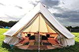 Latourreg Pyramid Round Bell Tent Canvas Yurt Tent With Zipped Groundsheet For Family Outdoor Camping (Beige Canvas Tent, Diameter 4M Bell Tent)