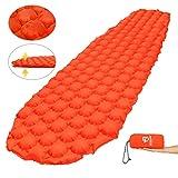 Bessport Sleeping Pad – Ultralight Inflatable Sleeping Mat, Best Self Serving Pad for Camping, Backpacking, Hiking –Carry Bag, Repair Kit – Compact & Lightweight Air Mattress (Orange)