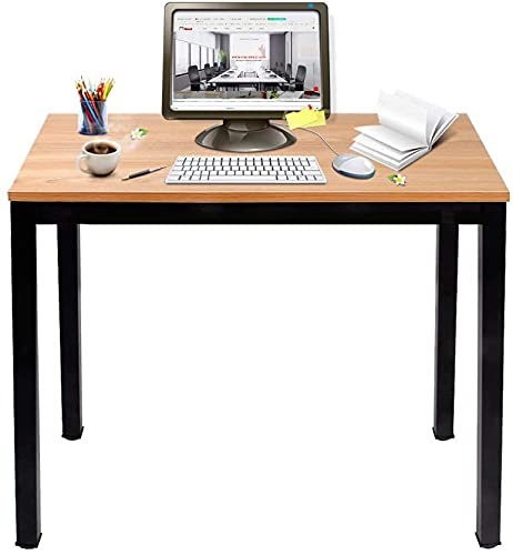 sogesfurniture Scrivania compatta per Computer PC Tavolo da Studio in Acciaio Legno, 80x40cm Ufficio Postazioni di Lavoro Tavolo da Pranzo per casa e Ufficio, Studio e Scrittura, BHEU-AC3BB-8040