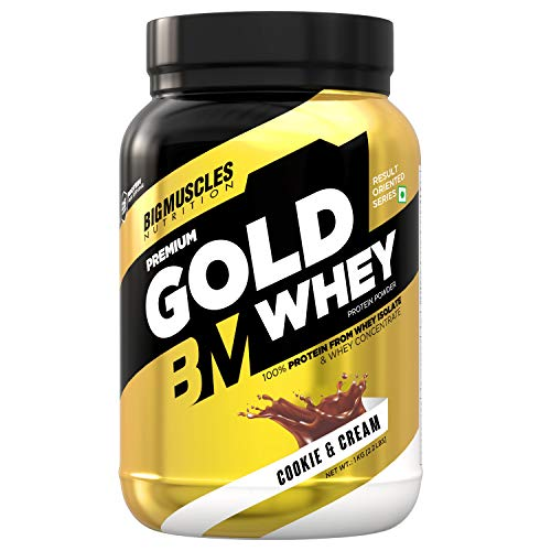 Bigmuscles Nutrition Premium Gold Whey 1Kg [Cookie & Cream]   Whey Protein Isolate & Whey Protein...