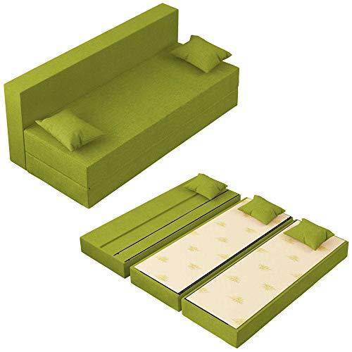 Baldiflex Divano Letto 3 Posti Modello TreTris Rivestimento Sfoderabile e Lavabile, Colore Verde Oliva