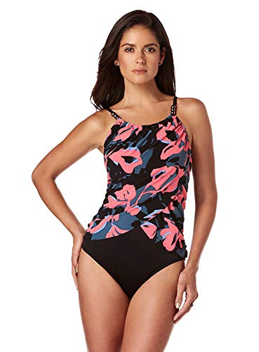 41386j+DvHL Our proprietary MAGITEX fabric provides allover slimming control; Body: 69% Nylon, 31% Lycra Spandex; Drape: 95% Polyester, 5% Spandex Underwire bra provides unbeatable lift and support Draped wrap front detail helps camouflage midsection