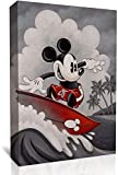 UETECH Framed Painting Artwork Mickey Mouse Surfing Bathroom Decor Wall Art 24 x 36 Inch