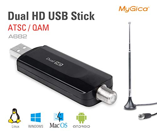 MyGica Dual Tuner Digital ATSC QAM USB 2.0 TV Tuner Stick - Watch Live TV in Full HD on Windows/Mac PC or Android TV Set-top Boxes with Mini TV Antenna/PIP