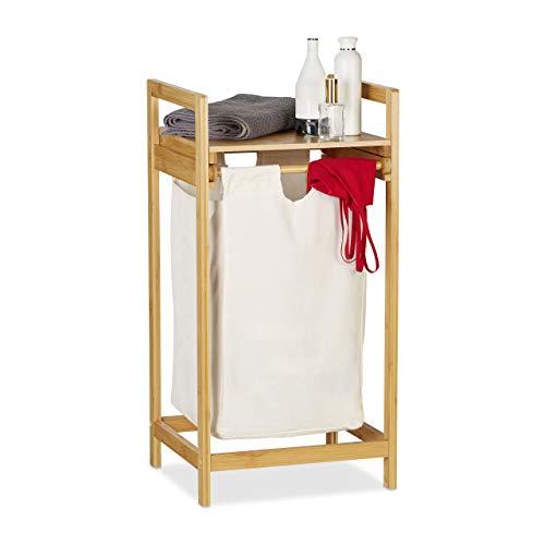 Relaxdays Wäschekorb Bambus, Wäschesammler mit Ablage, ausziehbar, eckig, tragbare Wäschebox, 30 Liter Innensack, Natur, 1 Stück