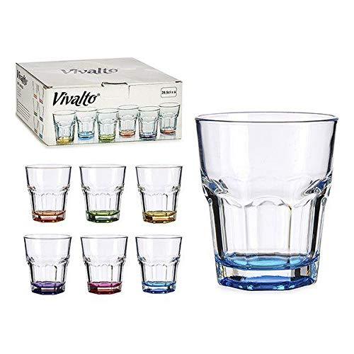 Vivalto Set di Bicchieri Trasparenti con Fondo colorato Vetro Cucina stoviglie Bicchieri bibite Bevande