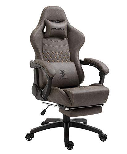 Dowinx Gaming Stuhl Bürostuhl Ergonomischer PC-Stuhl mit Massage Lendenwirbelstütze, Vorteil Stil PU Leder Hohe Rückenlehne Verstellbarer Drehsessel mit Fußstütze (Braun)