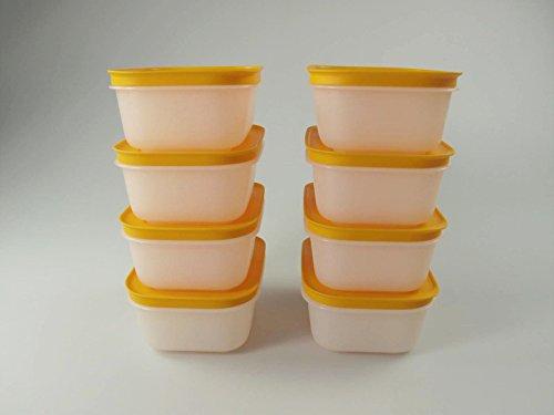 Tupperware Set di 8 contenitori per freezer 29494, da 450 ml, di colore bianco e arancione, in finitura satinata e dal design con cristalli di ghiaccio