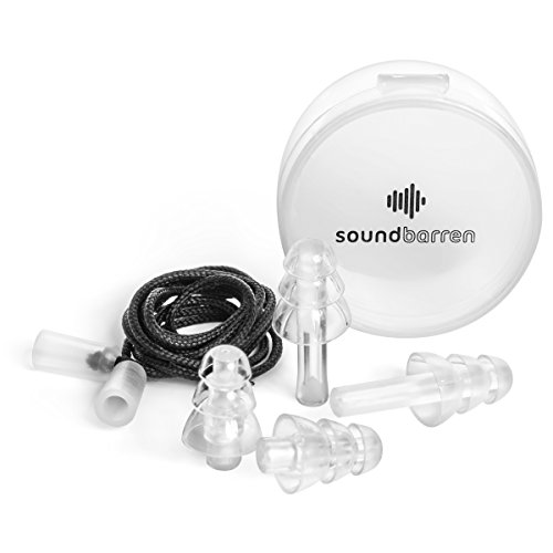 SoundBarren Ear Plugs, 1 Reusable Pair, 28dB Hearing Protection Earplugs for Sleeping, Snoring, Shooting, Concerts, Musicians, and Travel