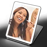 Home Zone Living Makeup Mirror Portable Travel Vanity Mirror, LED Lighting, USB Charge (White)