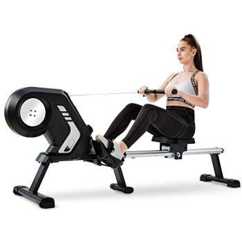 QWEPOI Rameur pliable avec résistance magnétique, écran LCD, pédales antidérapantes et roues de transport pour salle de gym à la maison, gris