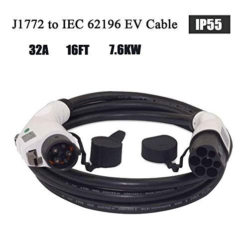 ETE ETMATE EV/Cable de carga para vehículos eléctricos 32 A -Tipo 1 a Tipo 2 Cable de carga para EV 5 Metros