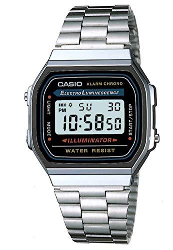 CASIO A168WA-1YES Uhr Herrenuhr Edelstahl Resin 30m Digital Datum Licht Alarm schwarz