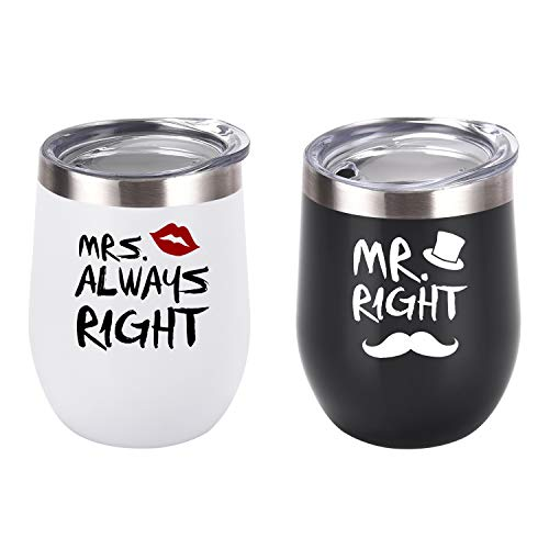Mr. Right Mrs. Always Right Wine Tumbler Set, Wedding...