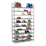 Halter Shoe Rack 10-Tier Shoe Rack Storage Organizer, Stackable Space Saving Shoe Shelf (Grey)