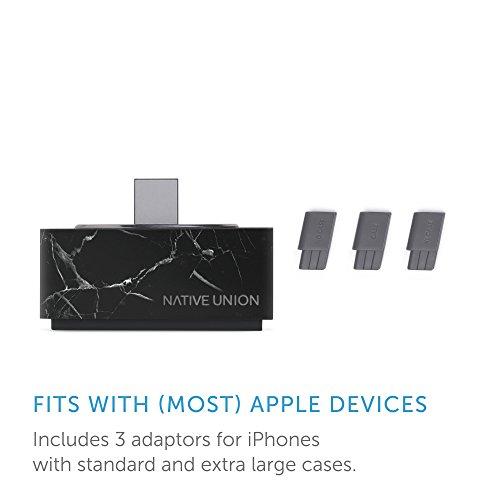 Product Image 1: Native Union Dock + Marble Edition – Marmo Genuino Stazione di Ricarica con Cavo Lightning Rinforzato per iPhone [Certificato Apple MFi] (Nero)