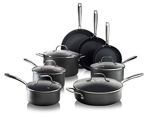 Granitestone PRO – Hard Anodized Pots and Pans 13 Piece Premium Chef's Cookware Set with Ultimate Nonstick Diamond & Mineral Coating, Oven & Dishwasher Safe, Large, Black