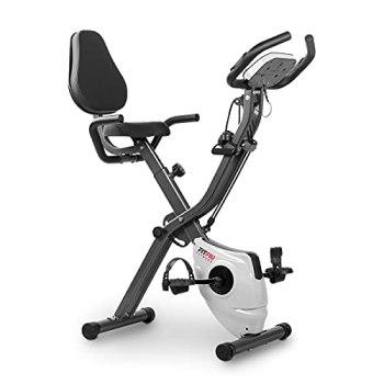 FITFIU Fitness BEST-320 - Vélo d'appartement pliable avec dossier et sandows, mode rameur, disque d'inertie de 8kg, moniteur de fréquence cardiaque, 8 niveaux de résistance, poids maximal 120kg