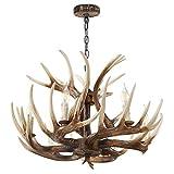 Antler Chandelier 6 Light Vintage Style Resin Antler Ceiling Light 24.5' Diameter X 15.75' Tall for Living Room Dining Room Brown BN-1033-6 BR