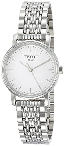 Tissot Damen Analog Quarz Everytime Small Armbanduhr mit Edelstahl Armband T1092101103100