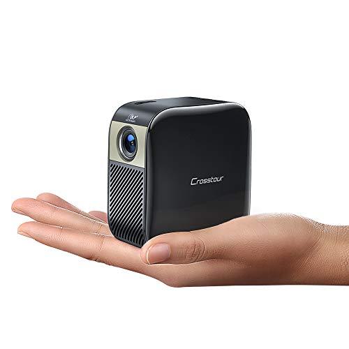 Mini Projecteur, Crosstour Mini Vidéoprojecteur, Pico DLP Projecteur, Supporte 1080P Full HD, Compatible avec Fire TV Stick/Chromecast/Dongle/Smartphone, à la Maison et à l'Extérieur Cinéma