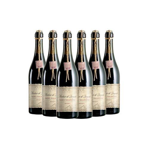 MARCHESE DI BORGOSOLE Salice Salentino DOC Riserva, Vino Rosso, Consigliato con Arrosti e Carni Rosse, Ottimo con Formaggi Stagionati, 6 x 750 ml, Made in Italy, 13% Vol