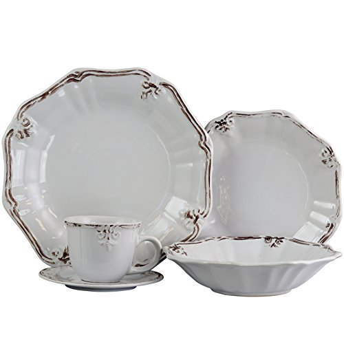 Elama Fleur De LYS Scalloped Round Stoneware Elegant Dinnerware Dish Set, 20 Piece, White