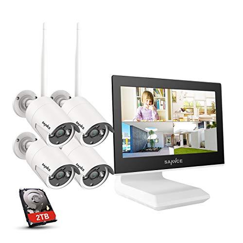 SANNCE Kit Videosorveglianza WiFi 1080P 4CH NVR con 10,1' monitor 2TB Disco Rigido Installato 4 Wireless Telecamere di Sorveglianza 1080P Eseterno Visione Notturna 100 piedi IP66-2TB HDD