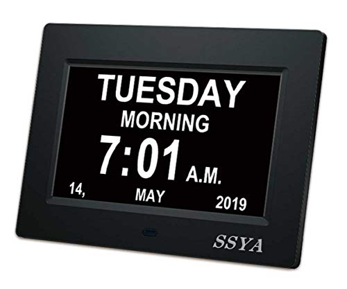 [Newest Version] 7 Inch Day Clock - 12 Alarm Options, Level...