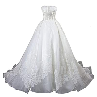 Please do not use your usually wear size. Please make sure to choose a correct size from our size chart only which is listed in the picture area on the left Lace, tulle and satin,Strapless Neckline,embellished by beading Lace up/corset back closure B...