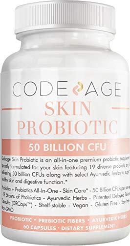 Codeage Skin Probiotics + Prebiotics - Skin Care Routine Supplement - 50 Billion CFU - Ayurvedic Botanical Herbs - Face Probiotics - Shelf Stable Cleanser, Non-GMO, Vegan - 60 Capsules 1