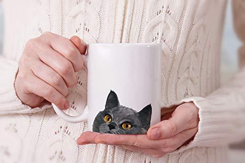 MUGBREW Blue Gray British Shorthair Cat Ceramic Coffee Mug Tea Cup, 11 OZ