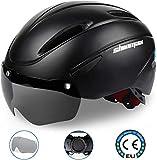 Kinglead Casque de vélo, certifié CE, réglable, avec visière lunette magnétique amovible, ., Noir